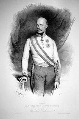 L'archiduc Jean en tant que Régent impérial en 1848. Lithographie de J. Kriehuber