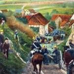 Batterie allemande entrant dans un village francais en 1870/71 (carte postale)