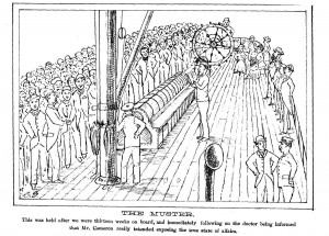 "Illustration der Schiffszeitun. ""THE MUSTER. This was held after we were thirteen weeks on board, and immediately following on the doctor being informed that Mr. Cameron really intended exposing the true state of affairs."""