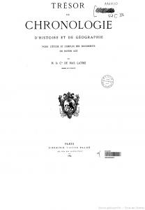 Trésor de Chronologie d'Histoire et de Géographie